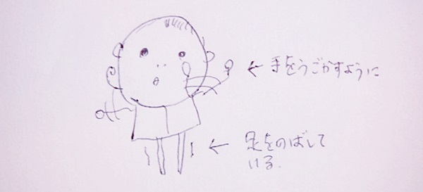 イラスト「手足をバタバタ(生後1ヶ月)」